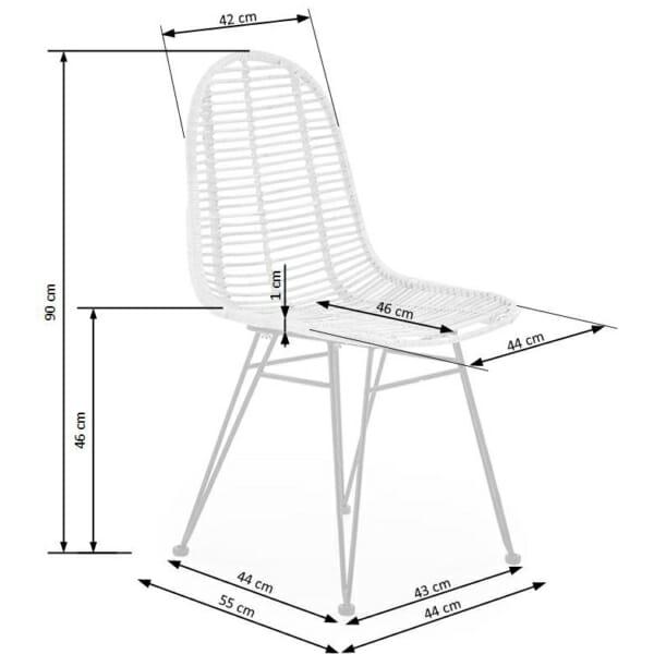 Плетен ратанов стол с метални крака - схема