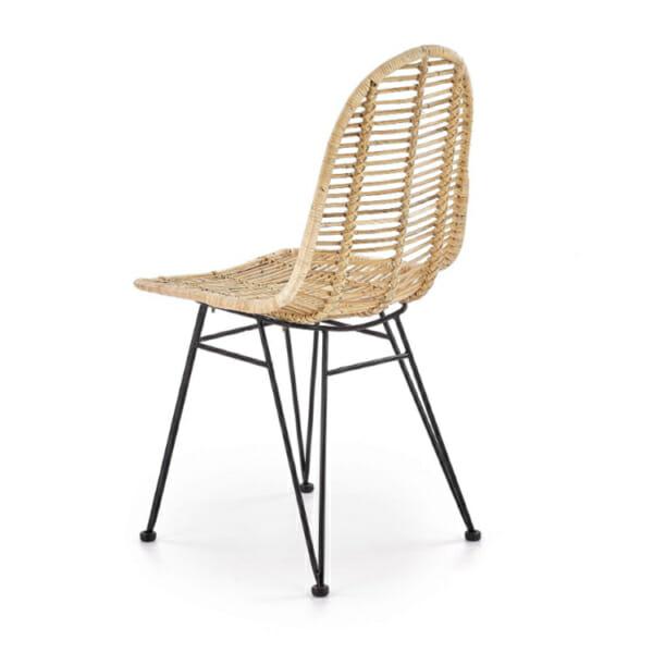 Плетен ратанов стол с метални крака - странично