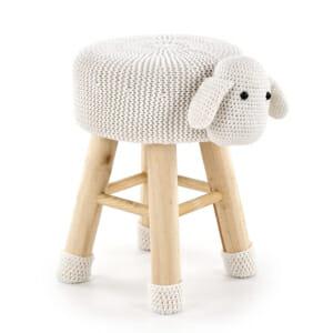 Плетена детска табуретка с формата на агне