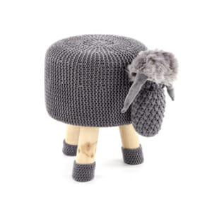 Плетена детска табуретка в сиво от естествено дърво - бор