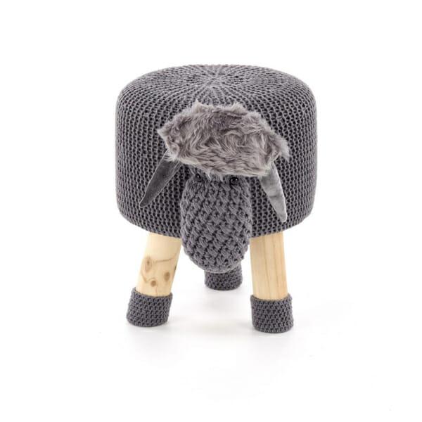 Плетена детска табуретка в сиво от естествено дърво - изглед отпред