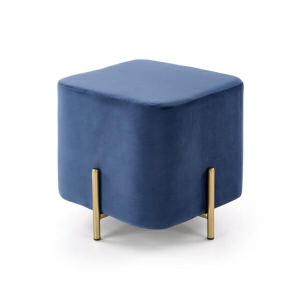 Плюшена табуретка във формата на куб (3 цвята) - син