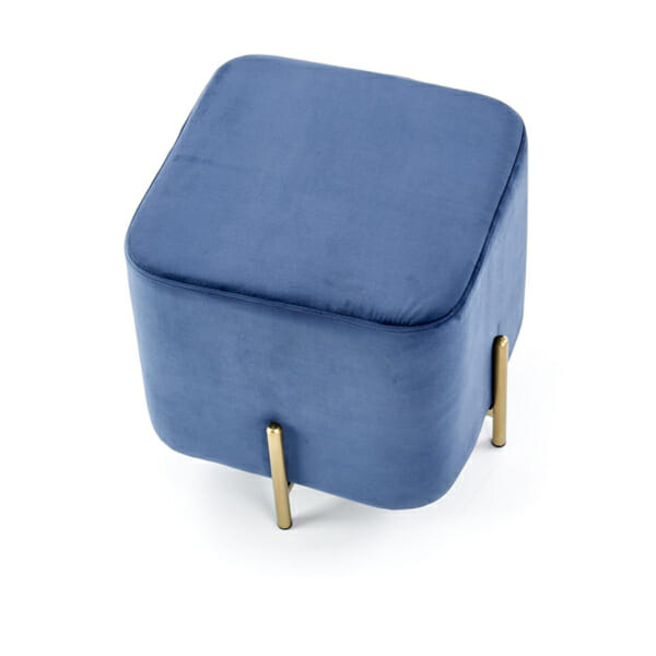 Плюшена табуретка във формата на куб (3 цвята) - син - отгоре
