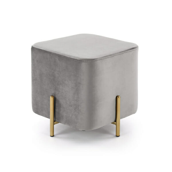 Плюшена табуретка във формата на куб (3 цвята) - в сиво