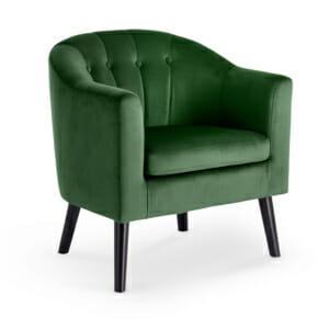 Плюшено кресло с мека седалка и подлакътници - тъмнозелено