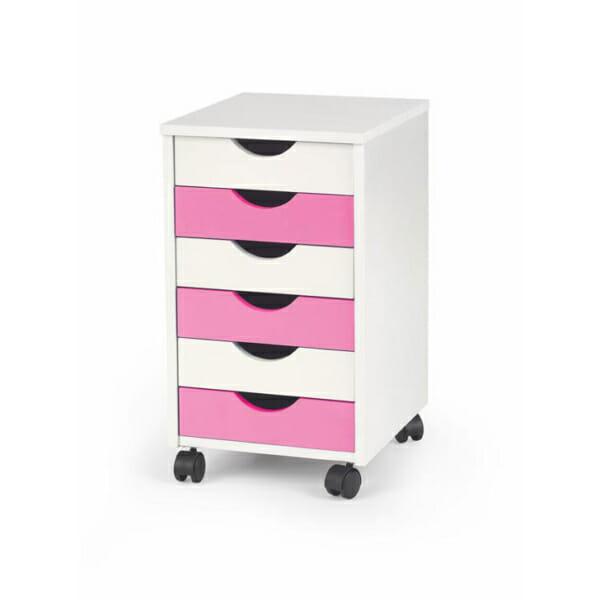 Подвижен дървен контейнер за бюро в бяло и розово с 6 чекмеджета