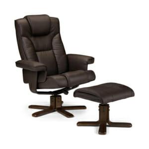 Релакс кресло от дърво и еко кожа и с табуретка за крака