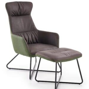 Релакс кресло с табуретка от еко кожа текстил и стомана