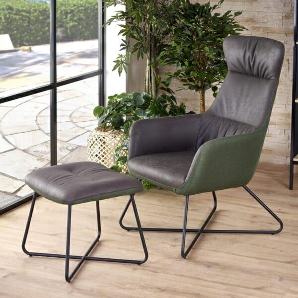 Релакс кресло с табуретка от еко кожа текстил и стомана - интериорна