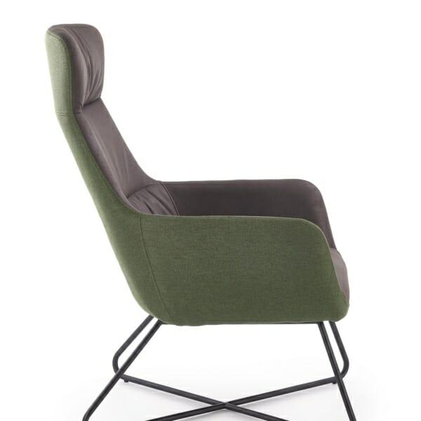Релакс кресло с табуретка от еко кожа текстил и стомана - в профил