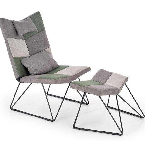 Релакс кресло с текстилна дамаска и мини табуретка за крака