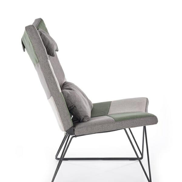 Релакс кресло с текстилна дамаска и табуретка за крака - в профил