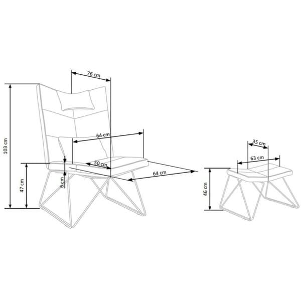 Релакс кресло с текстилна дамаска и табуретка - крака - схема