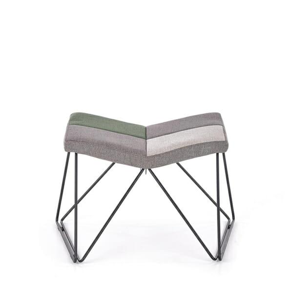 Релакс кресло с текстилна дамаска и табуретка за крака - табуретка отпред
