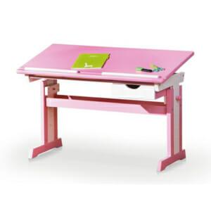 Розово детско бюро с повдигащ плот и регулиране на височината