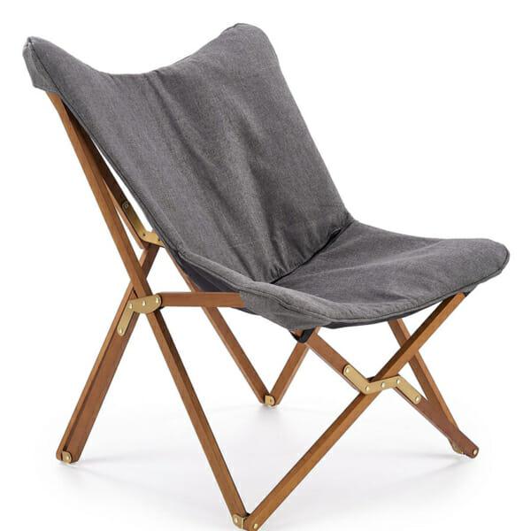 Сгъваем дървен стол с текстилна дамаска в сиво