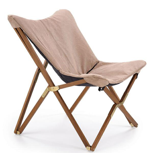 Сгъваем дървен стол с текстилна дамаска (3 цвята) - в бежово
