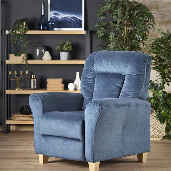 Фотьойл с релакс механизъм от дърво и текстил в син цвят