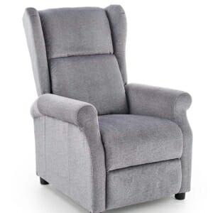 Сив фотьойл с дамаска от мек текстил и релакс механизъм