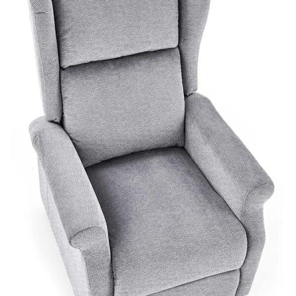 Сив фотьойл с дамаска от текстил и релакс механизъм - поглед отгоре