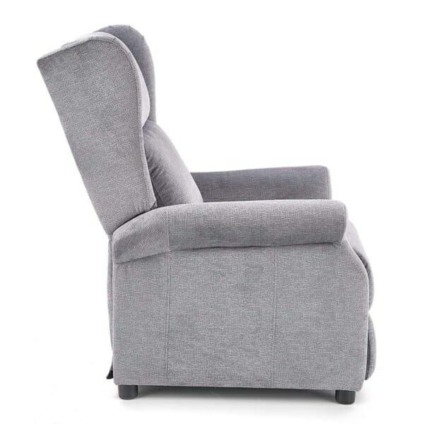 Сив фотьойл с дамаска от текстил и релакс механизъм - в профил
