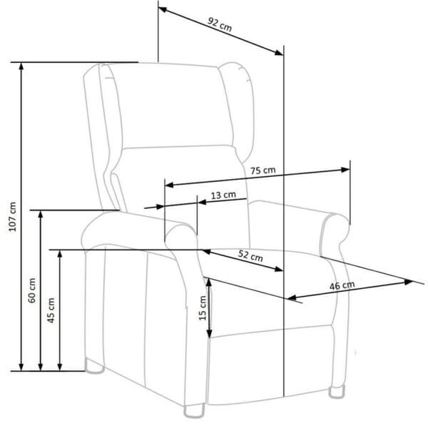 Сив фотьойл с дамаска от мек текстил и релакс механизъм - схема