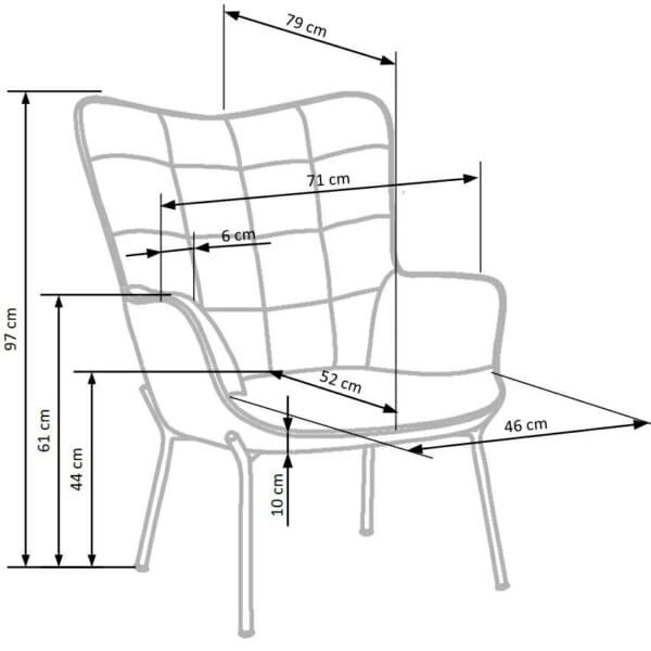 Сиво плюшено кресло с висока облегалка и подлакътници - схема на продукта