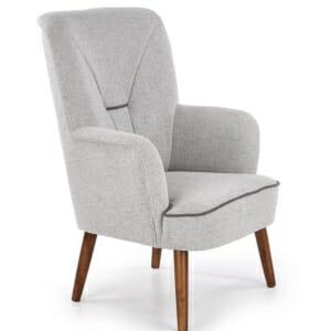 Сиво текстилно кресло с дървени крака - орех и висока облегалка