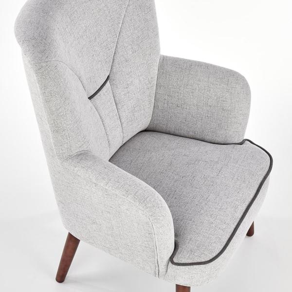Сиво текстилно кресло с дървени крака и висока облегалка - отгоре