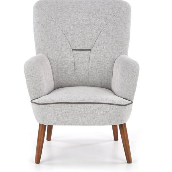 Сиво текстилно кресло с дървени крака и висока облегалка - отпред