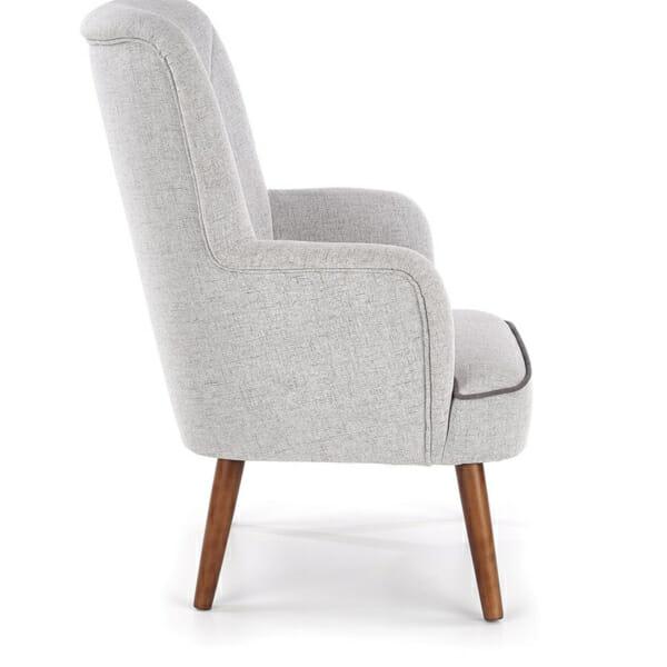 Сиво текстилно кресло с дървени крака и висока облегалка - профил