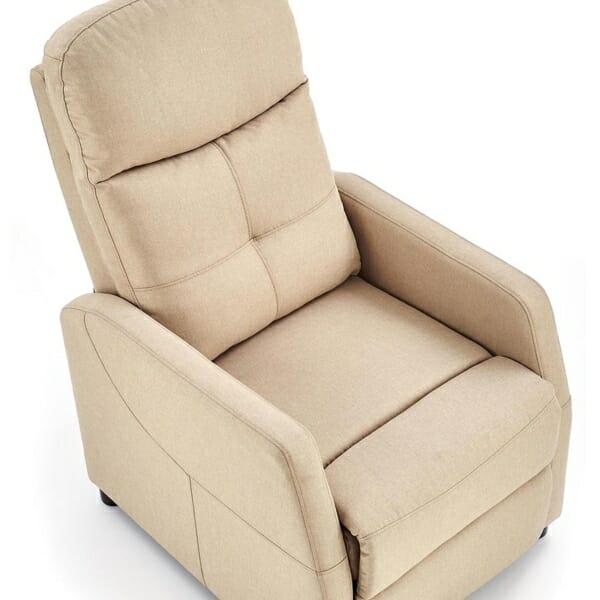 Стилен релакс фотьойл с текстилна дамаска - отгоре