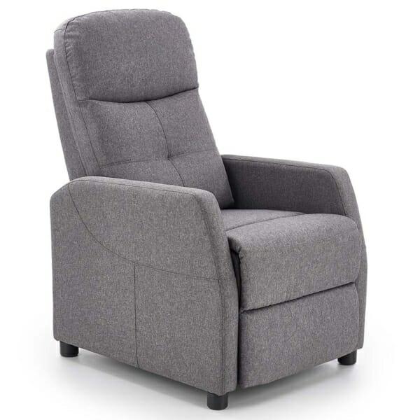 Стилен релакс фотьойл с текстилна дамаска - тъмно сив