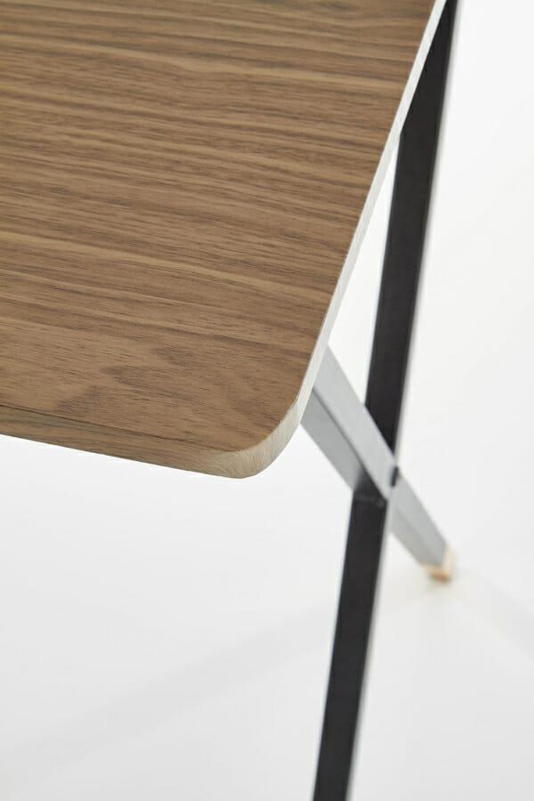 Стилно бюро за домашен офис в черно, орех и златисто-детайл крака