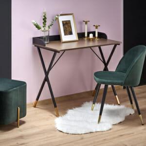 Стилно бюро за домашен офис в черно, орех и златисто