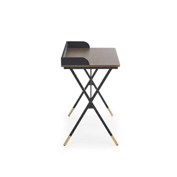 Стилно бюро за домашен офис в черно, орех и златисто- отстрани