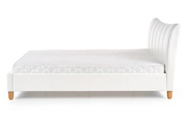 Тапицирано легло в бяла еко кожа - отстрани