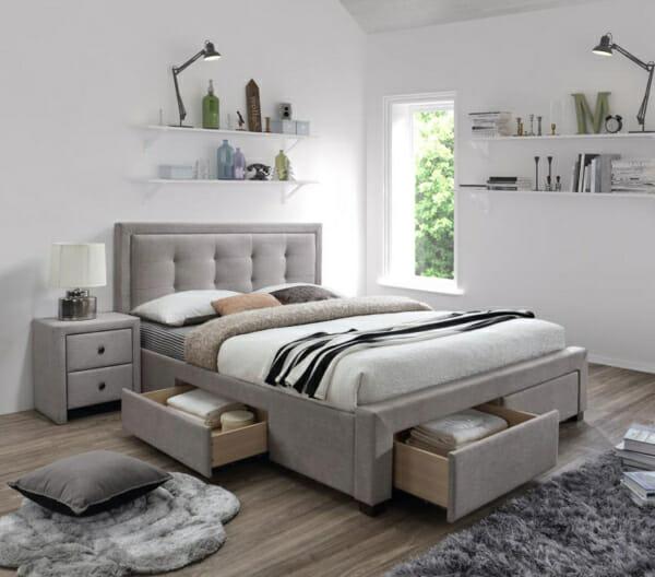 Тапицирано легло в бежово-сив цвят с 4 чекмеджета