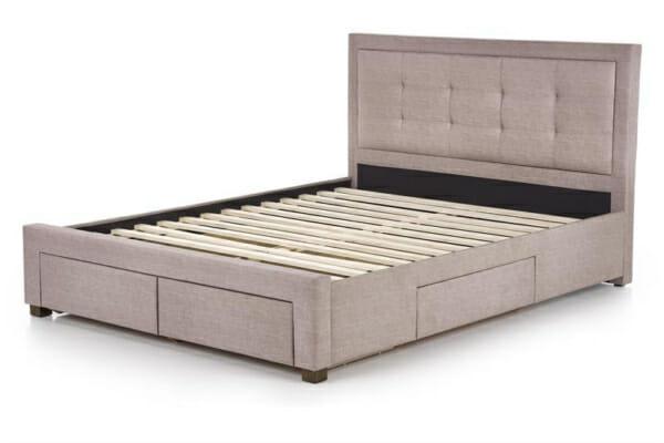 Тапицирано легло в бежово-сив цвят с подматрачна рамка