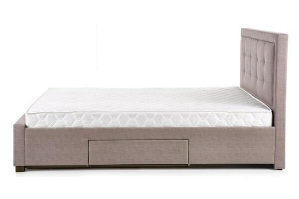 Тапицирано легло в бежово-сив цвят - отстрани
