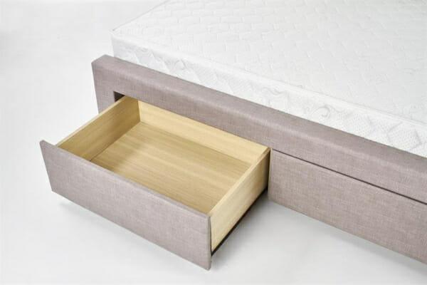 Тапицирано легло в бежово-сив цвят - чекмедже