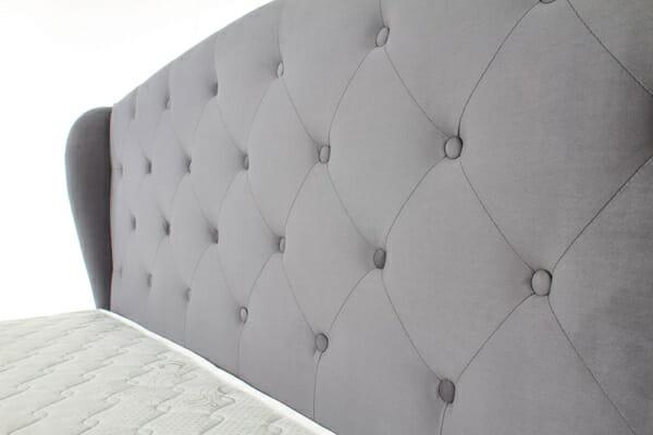 Легло с тапицирана табла в сиво