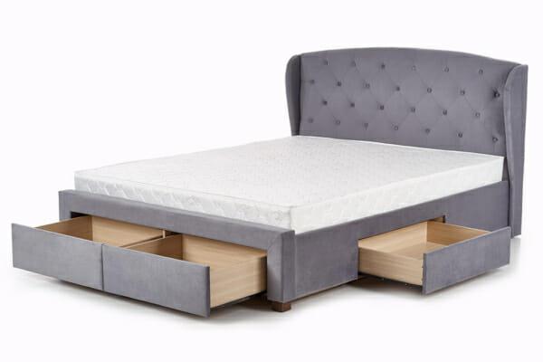 Тапицирано сиво легло с чекмеджета