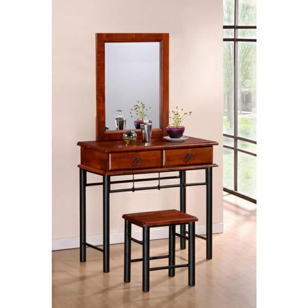 Тоалетка от метал и дърво с огледало,чекмеджета и табуретка