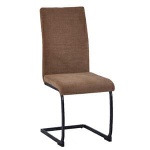 Трапезен стол с кафява дамаска и метални крака