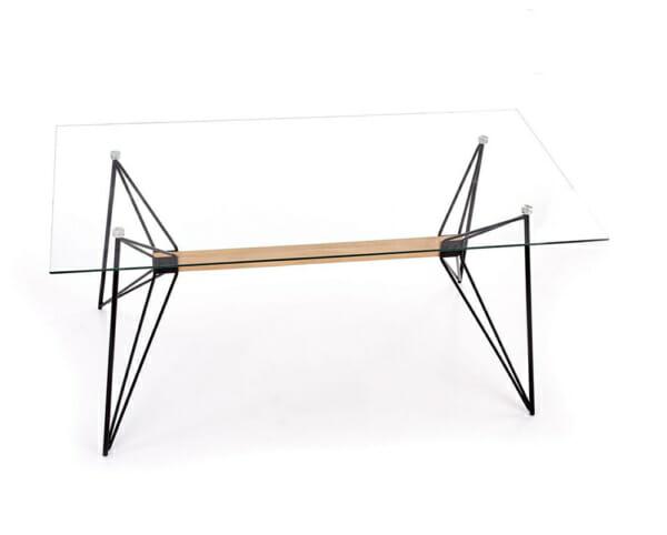 Трапезна маса със стъклен плот и основа от метал и дърво - изглед отпред