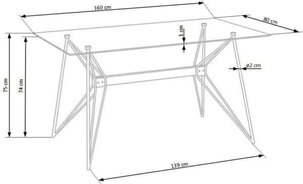 Трапезна маса със стъклен плот и основа от метал и дърво - схемата
