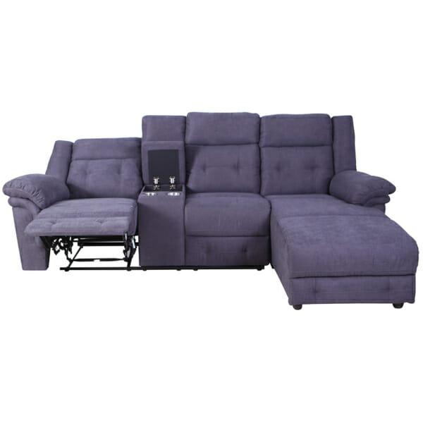 Ъглов диван с релакс механизъм и практична бар функция - отпред