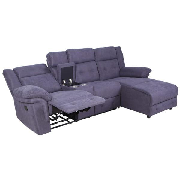 Ъглов диван с релакс механизъм и бар функция - разтегнат вариант