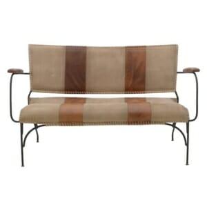 Метална пейка с мек гръб и седалка от плат и кожа